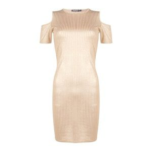 Boohoo Dresses & Skirts - Gold rib cold shoulder dress midi small glittery