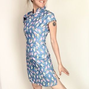 Dresses & Skirts - Adorable Qipao Cotton Denim Feather Spring Summer