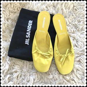 Jil Sander yellow leather slide