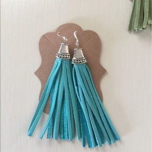 handmade Jewelry - Turquoise Fringed Earrings