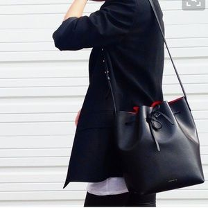 Mansur Gavriel Handbags - Mansur Gabriel Bucket Bag Black Flamma Large