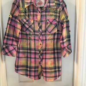 Roar Tops - Plaid button down blouse with rhinestones