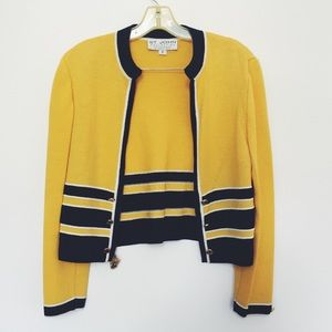 St. John Yellow and Navy Blue Short Knitted Jacket