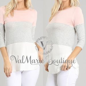 Gorgeous Pink Ivory Striped Trio Top