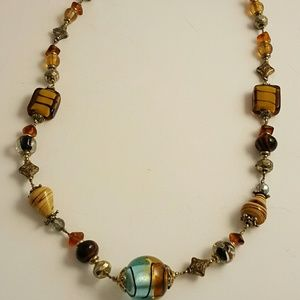 Jewelry - Vintage glass-beaded necklace