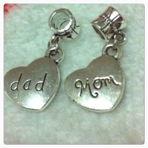 Jewelry - Dad mom heart charm sets fits pandora bracelet