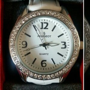 Peugeot  Jewelry - Peugeot White Watch with Crystal Accents
