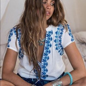 Spell & The Gypsy Collective Tops - Spell Designs Santorini Embroidered Blouse XS EUC