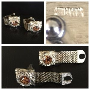 Swank Other - MENS🚨Vintage SWANK Rhinestone Goldtn Cuff Links