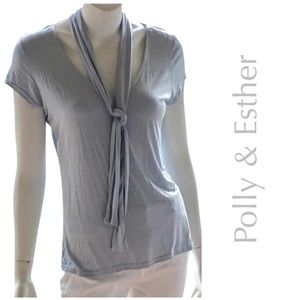 Polly & Esther Tops - NEW POLLY & ESTHER v neck t shirt dusty blue knit