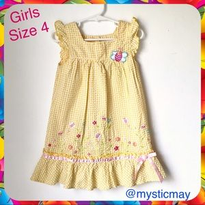 Jenny & Me Other - Girls Yellow Gingham Bumblebee Garden Dress Size 4