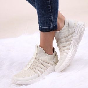 Fabfindz Shoes - Champagne Knit Sneakers