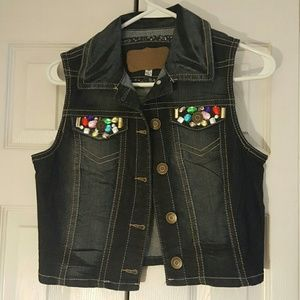 NWOT Womens Jean Vest with Embelishments