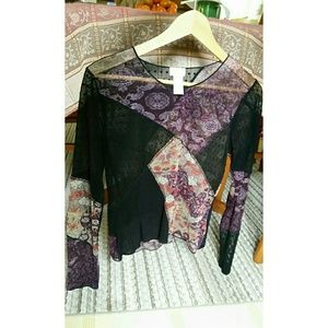 "J Jill Tops - ""JUST IN"" Black /Purple Blouse"