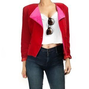 Kenzo Jackets & Blazers - Kenzo Paris velvet red pink asymmetric jacket