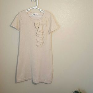 H&M Other - H & M Gold knit dress bow ruffle sparkle girl 8-10