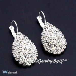 Handmade NEW Cz Crystal Teardrop Earrings.