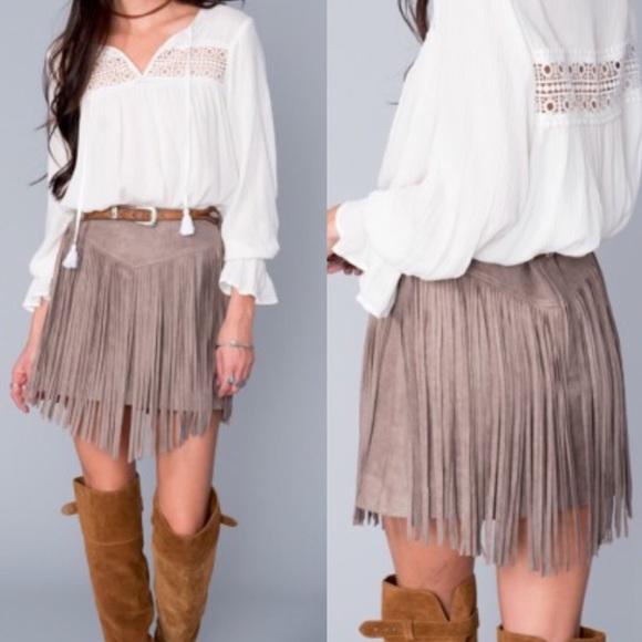 b18d701d5b Show Me Your Mumu Rancho Fringe Skirt