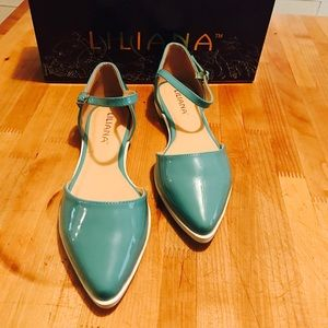 Liliana Shoes - Turquoise Patent Leather Pointed Toe Flats