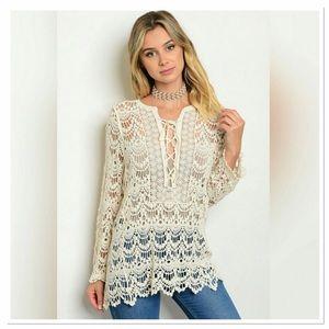 Threadzwear Tops - Lace up crochet top