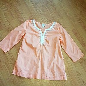 St. John's Bay Tops - NWOT St. John's Bay peach tunic top 3/4 sleeve