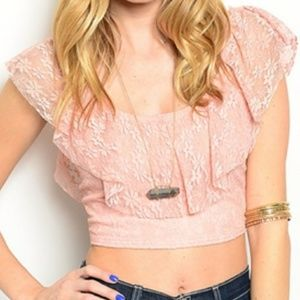 Tops - 💖*SALE* NWT Flounce Lace Crop Top