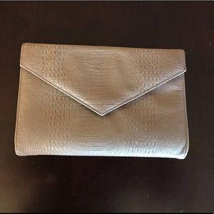 Faux snakeskin envelope clutch