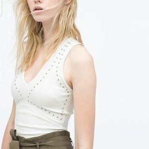Zara White Studded Top