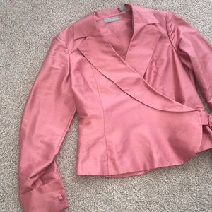 Kate Hill Tops - New Silk Kate Hill Pink Wrap Blouse Size 6