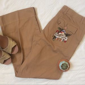 """Johnny Was Pants - JOHNNY WAS """"GOOD LUCK"""" Embroidered cropped khakis"""