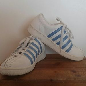 K-Swiss Shoes - K-Swiss White and Blue Tennis Shoes