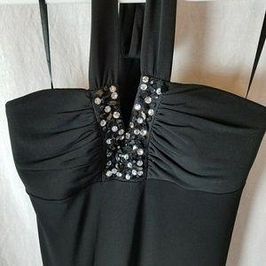 Black halter dress with jewels