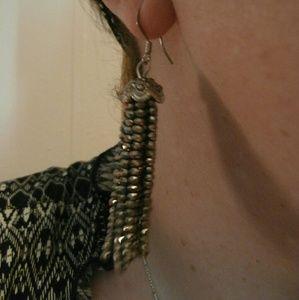 lmw0082 Jewelry - Metallic seed bead tassel earrings
