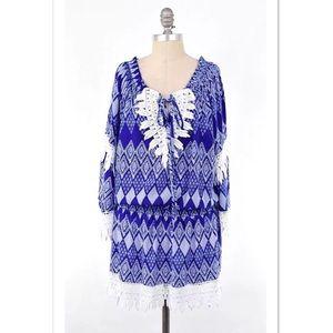 T Bags Los Angeles Dresses & Skirts - T Bags lace trim blouson boho dress