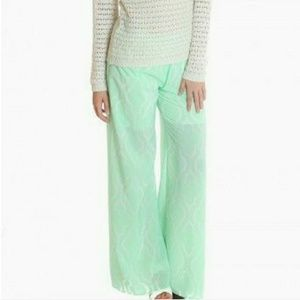 Mint Green and White Palazzo Pants