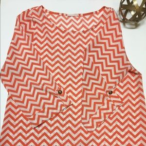 Everly Tops - Orange & white chevron print top