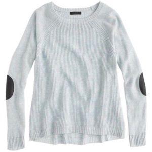 J. Crew elbow patch sweater, light blue