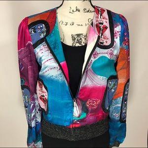 Custo Barcelona Jackets & Blazers - Custo Barcelona Silk Embroidered Bomber Jacket