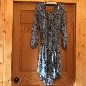 Three-quarter sleeve multi-patterned shirt dress