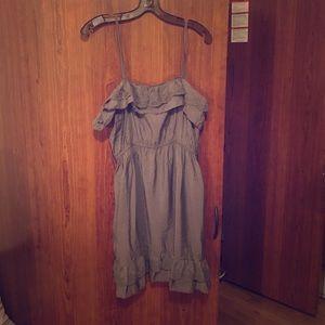 Grey mini dress with lace ruffle detail