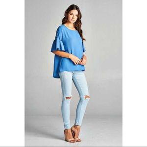 Bell Sleeve Top-BLUE