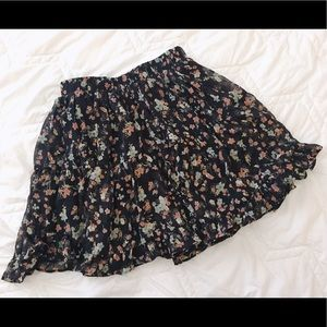 NEW black chiffon floral flare skirt