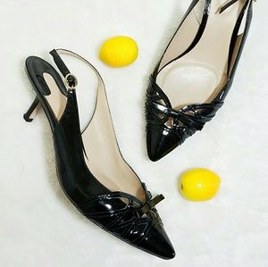 Joan & David Shoes - Black Patent Leather Bow Tie Slingback Heels