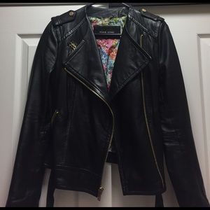 Black Rivet Jackets & Blazers - Black Leather Moto Jacket