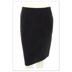 Max Mara Black Wool Pinstripe Pencil Skirt