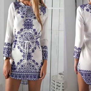 White and blue mini dress DRC161