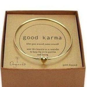 Jewelry - Golden Heart bangle bracelet Karma Jewelry (Gold)