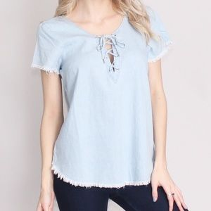 Tops - SALE Chambray Denim Lace Up Top