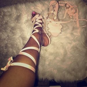 Shoes - Blush pink lace up summer heels!