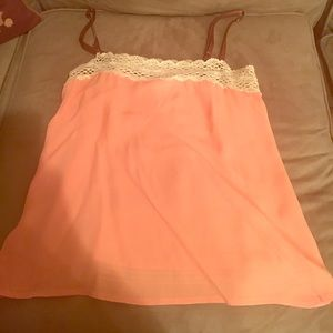 Popsicle color tank with cream macrame lace top